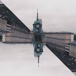 architecture city clock cloudy mirrorlab snapseed varsawia